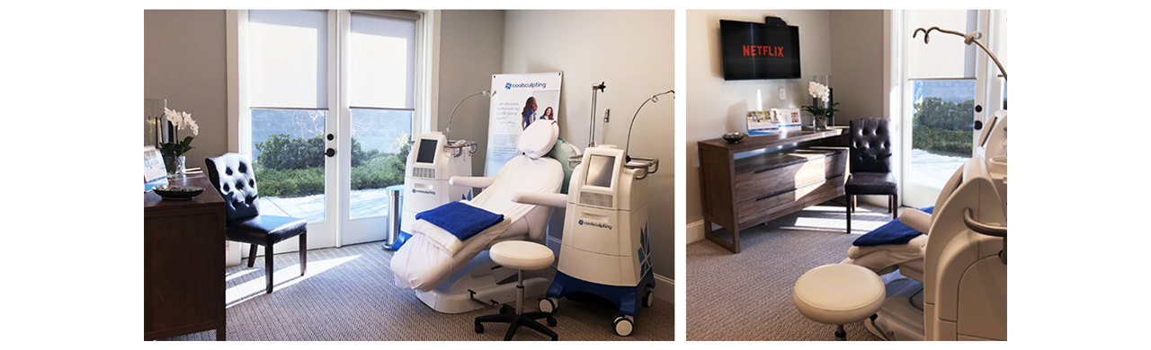 The CoolSuite is a fully private dual CoolSculpting room with exterior views, a TV, and an ensuite bathroom